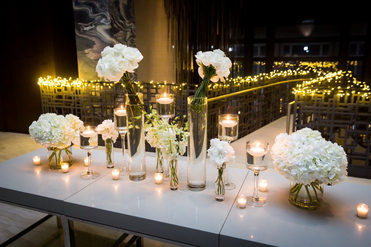 White flowers decorating a Four Seasons Hotel New York Downtown wedding