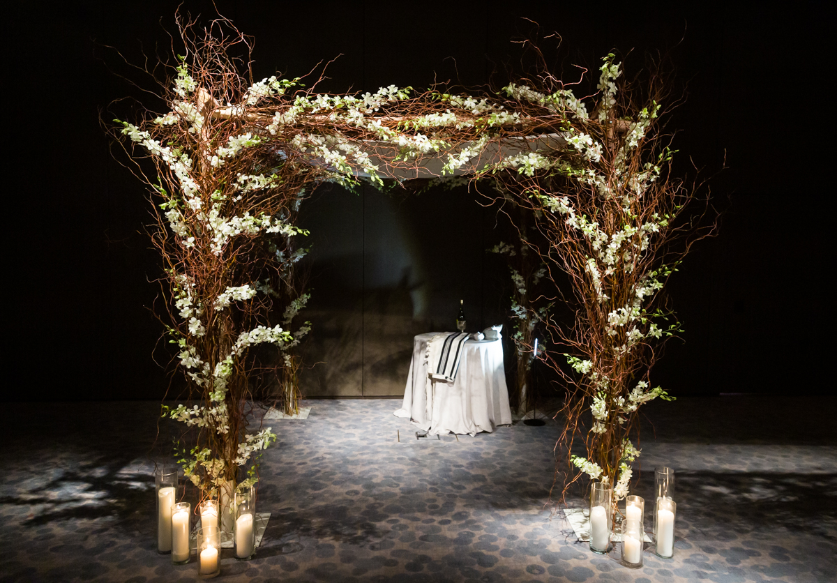 Floral branch chuppah for a Four Seasons Hotel New York Downtown wedding