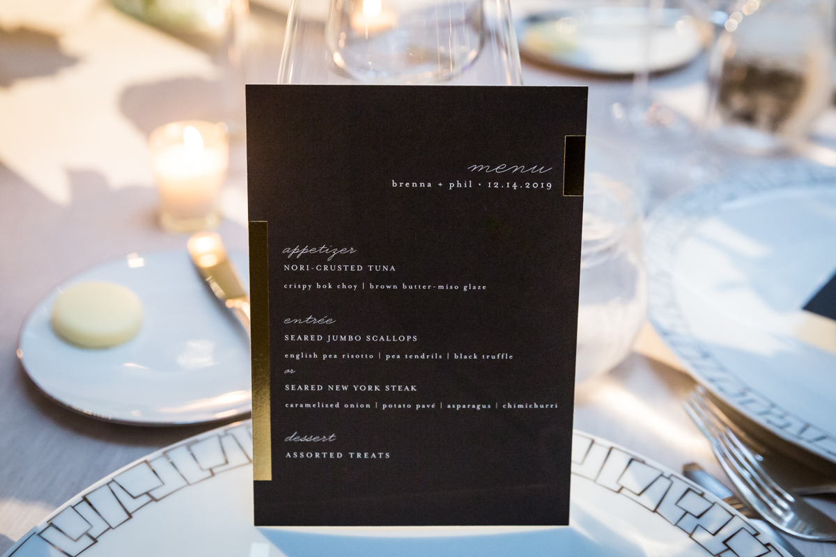 Menu cards at a Four Seasons Hotel New York Downtown wedding