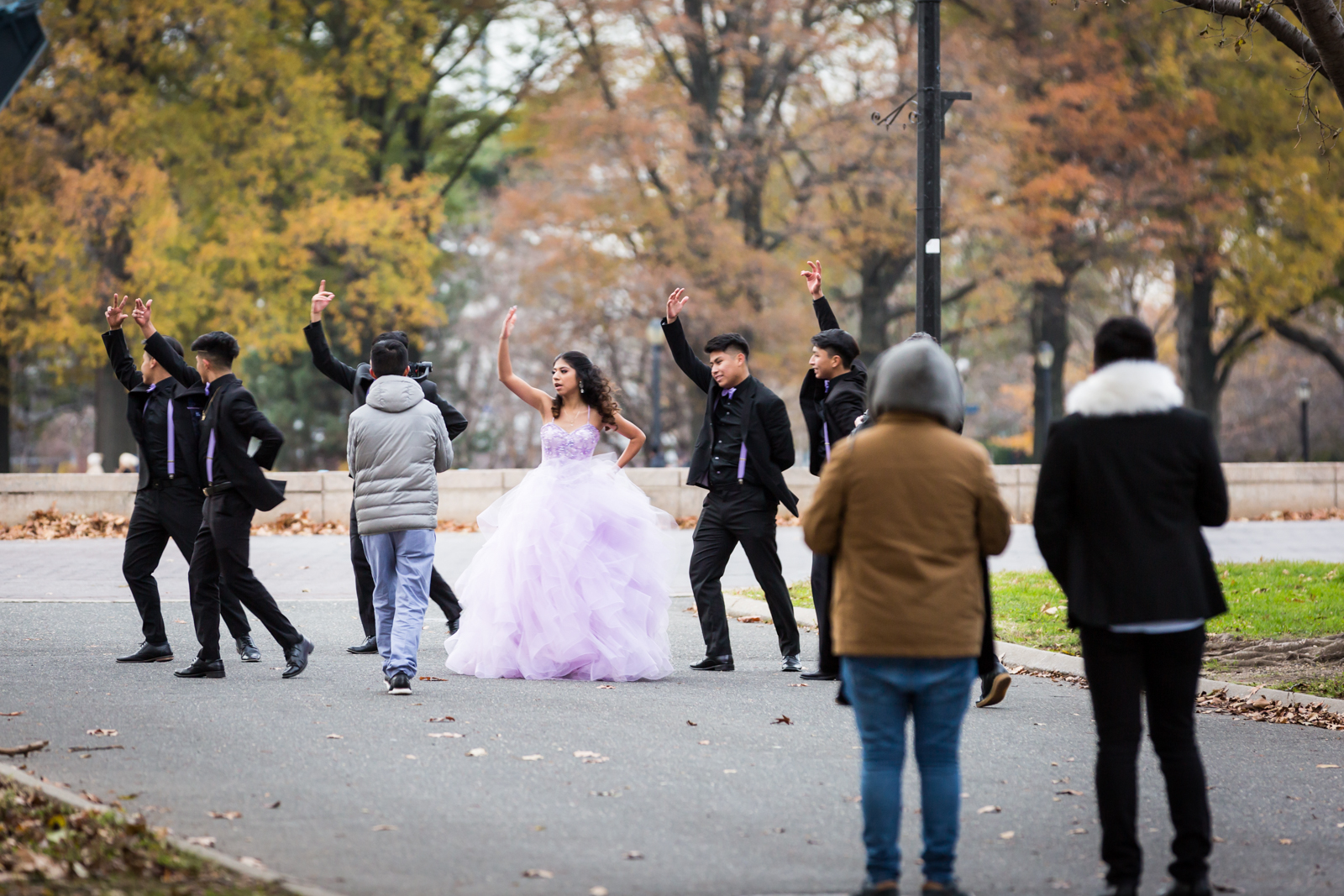 Quinceanera video shoot in Flushing Meadows Corona Park