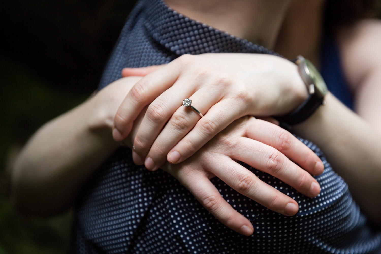 Close up of engagement ring on woman's hand