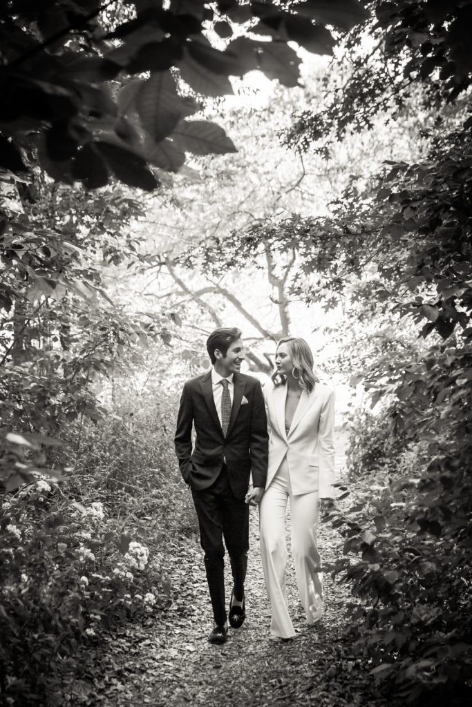 Black and white portrait of bride and groom in Central Park