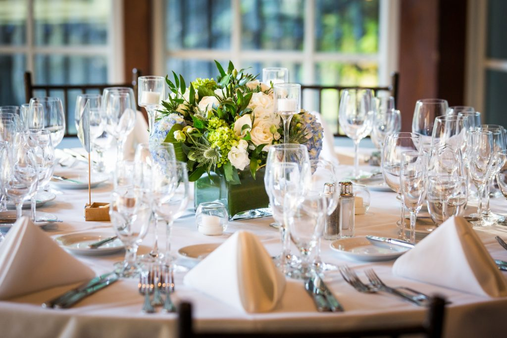 Table setting at a Central Park Boathouse wedding