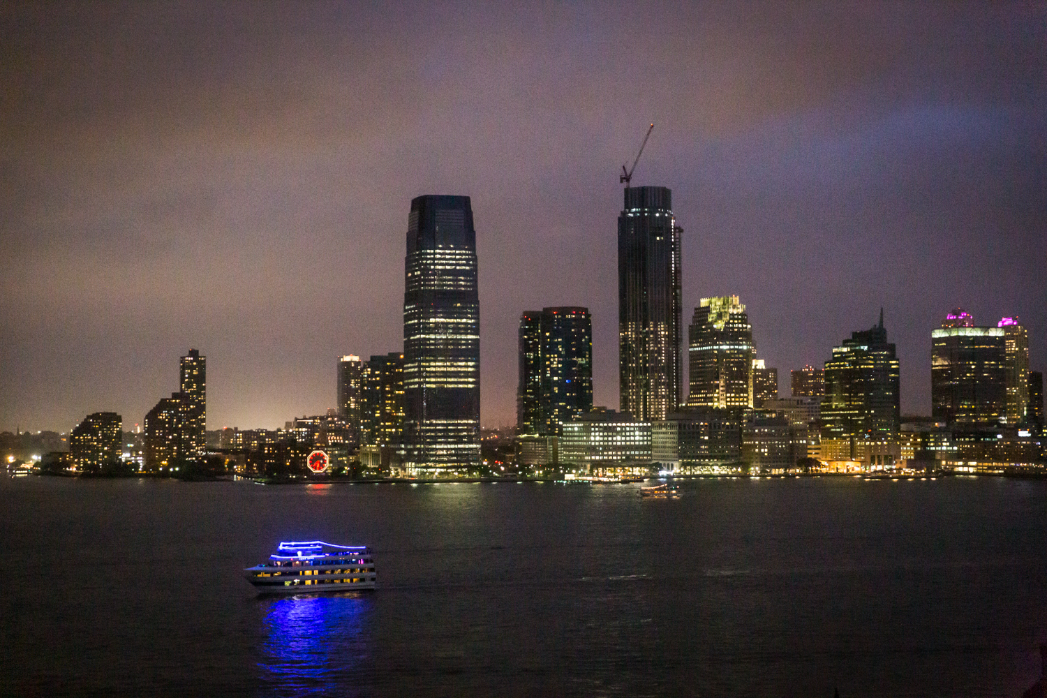 View of Hudson River waterfront at night