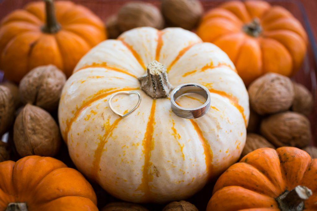 Wedding rings sitting on white pumpkin