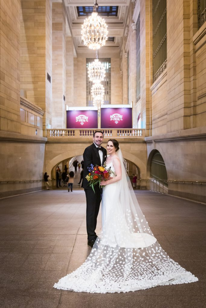 Bride and groom portrait in Grand Central Terminal hallway