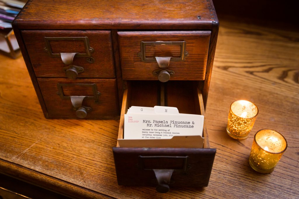 Small card catalog with guest escort cards at a Water Club wedding
