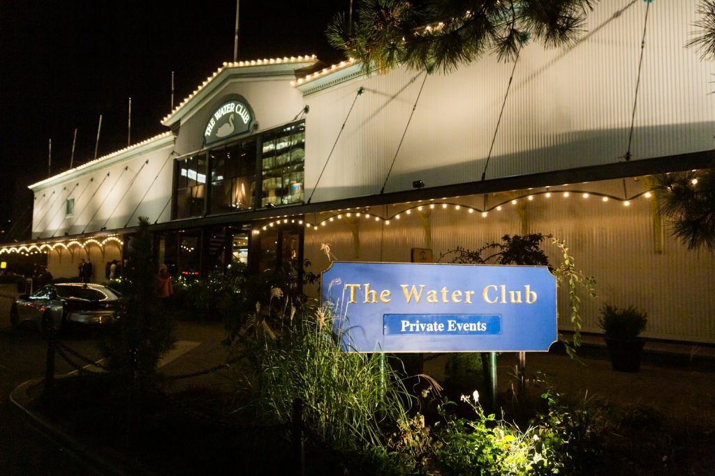 Exterior of The Water Club at night
