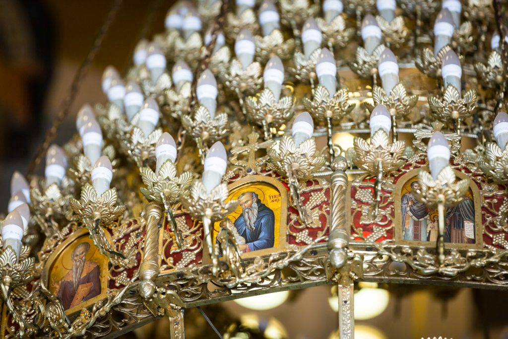 Close up on chandelier at Saints Constantine and Helen Greek Orthodox Cathedral of Brooklyn