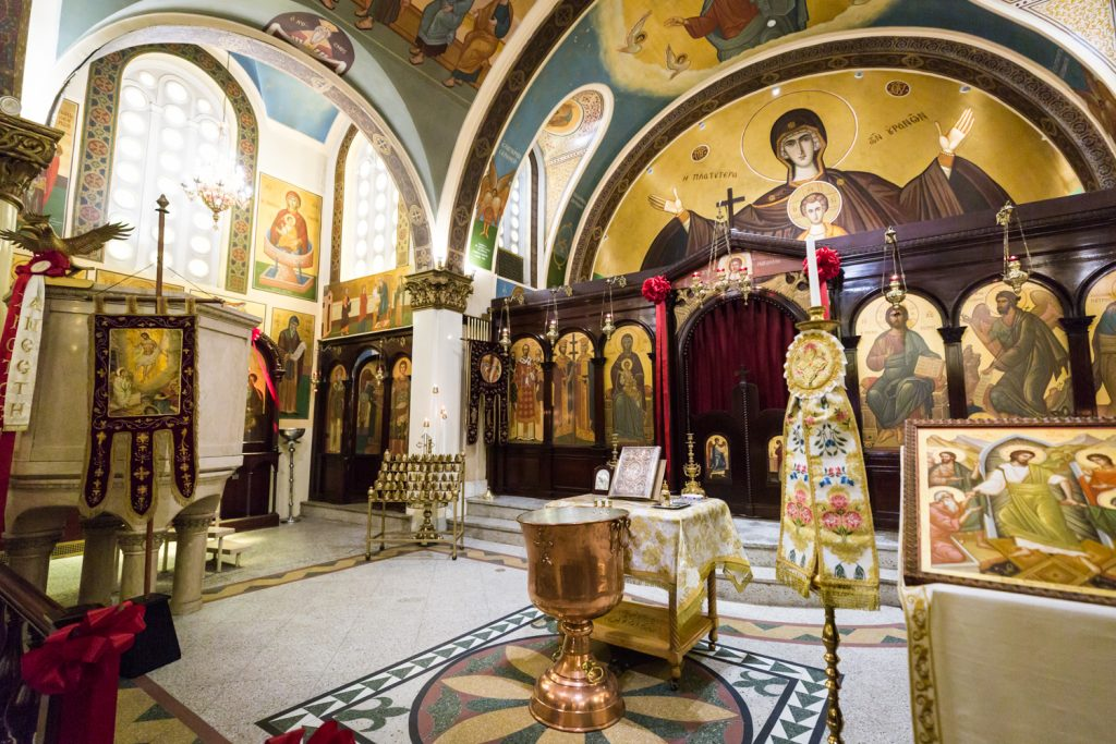 Altar area of Saints Constantine and Helen Greek Orthodox Cathedral of Brooklyn