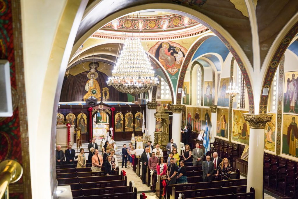 Wide angle shot of interior of Saints Helen and Constantine Greek Orthodox Cathedral of Brooklyn