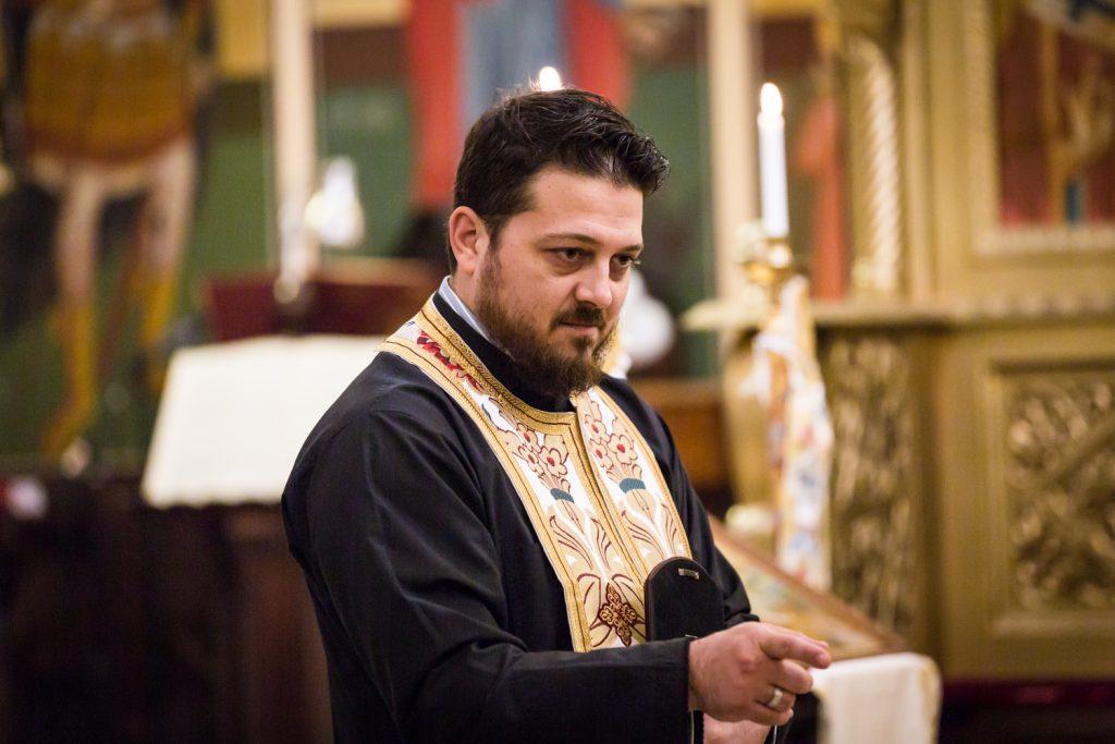 Greek orthodox baptism photos of priest speaking