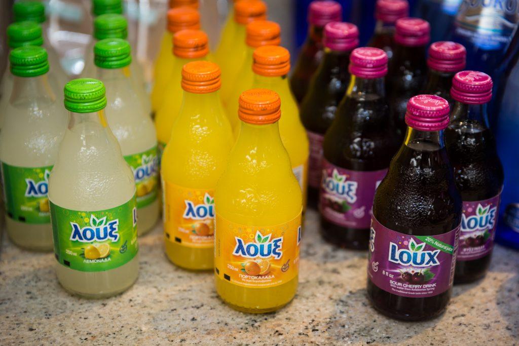 Three different types of Greek soda pop