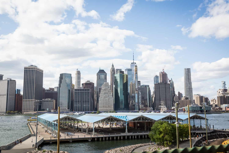 NYC skyline and Brooklyn Bridge Park