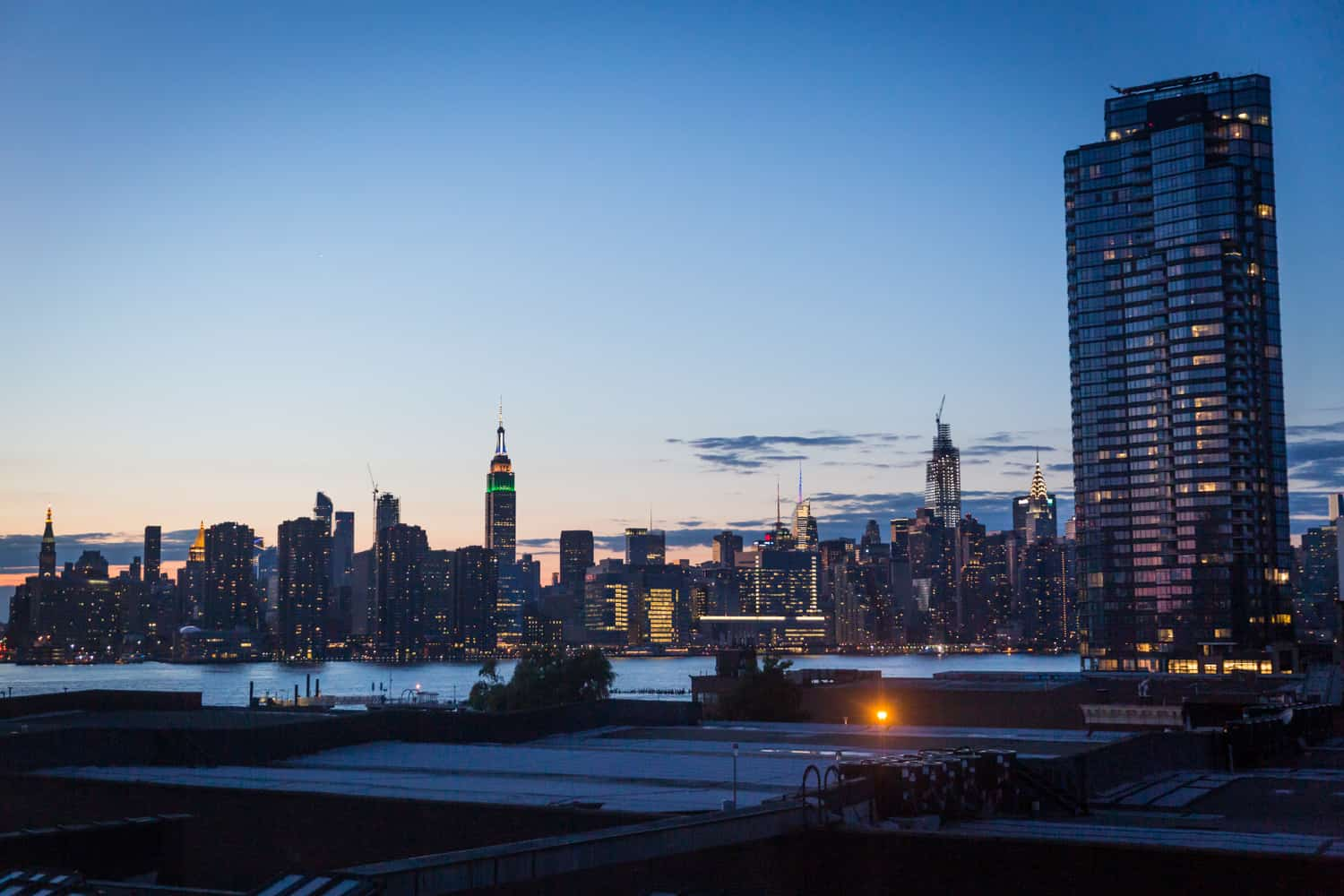 View of NYC skyline at dusk