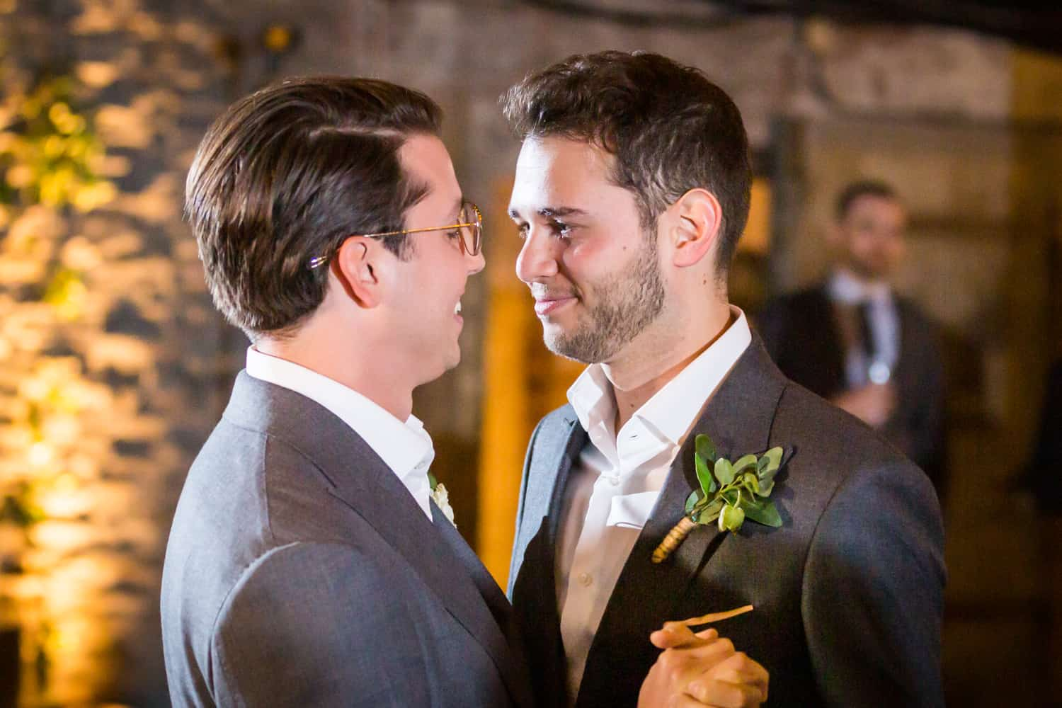 Greenpoint Loft wedding photos of two grooms during first dance