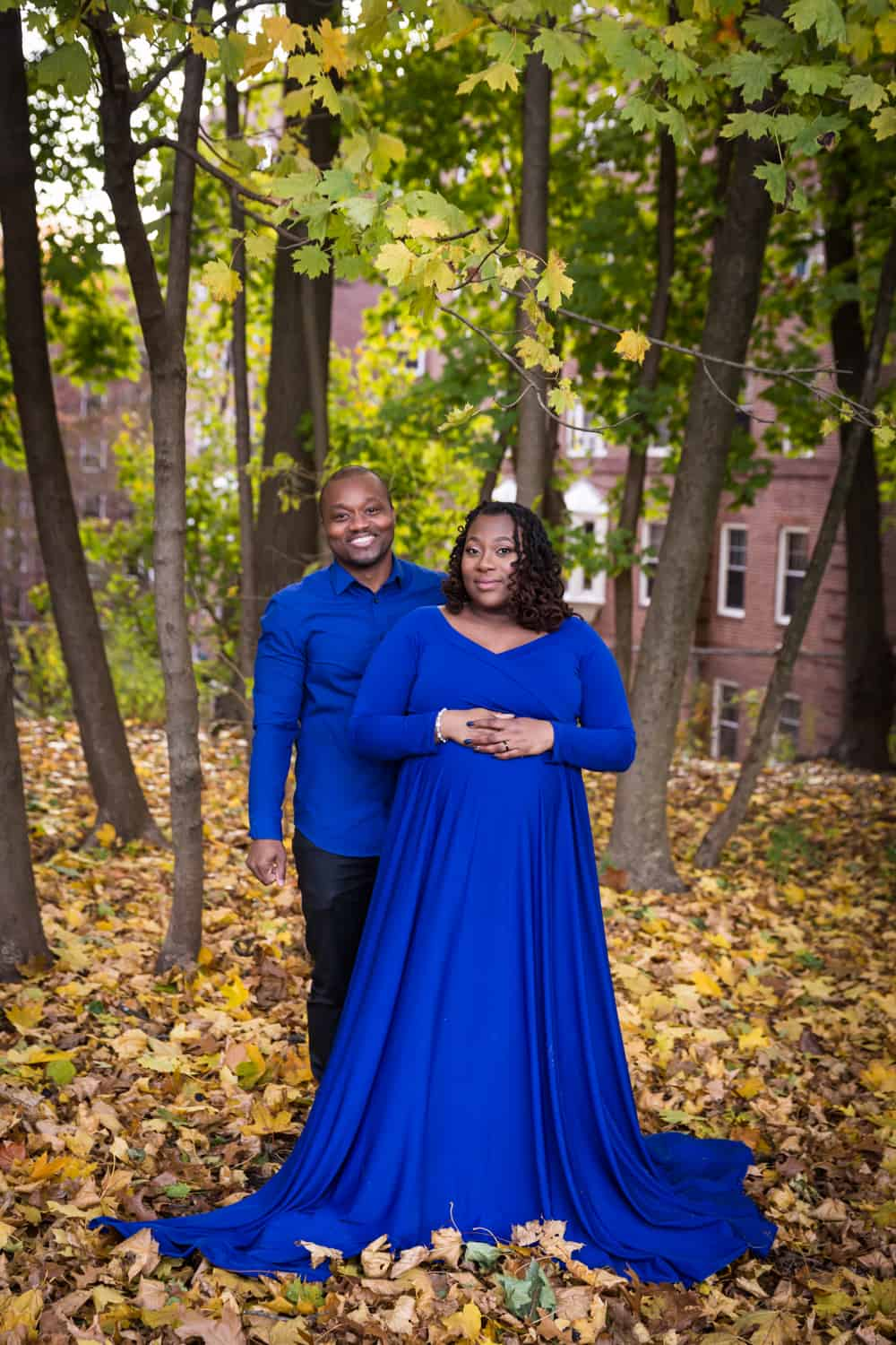 African American expecting couple for an article on maternity photo shoot ideas
