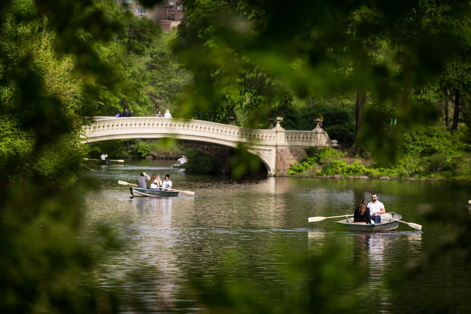 Boats in water at a surprise proposal on Central Park Lake
