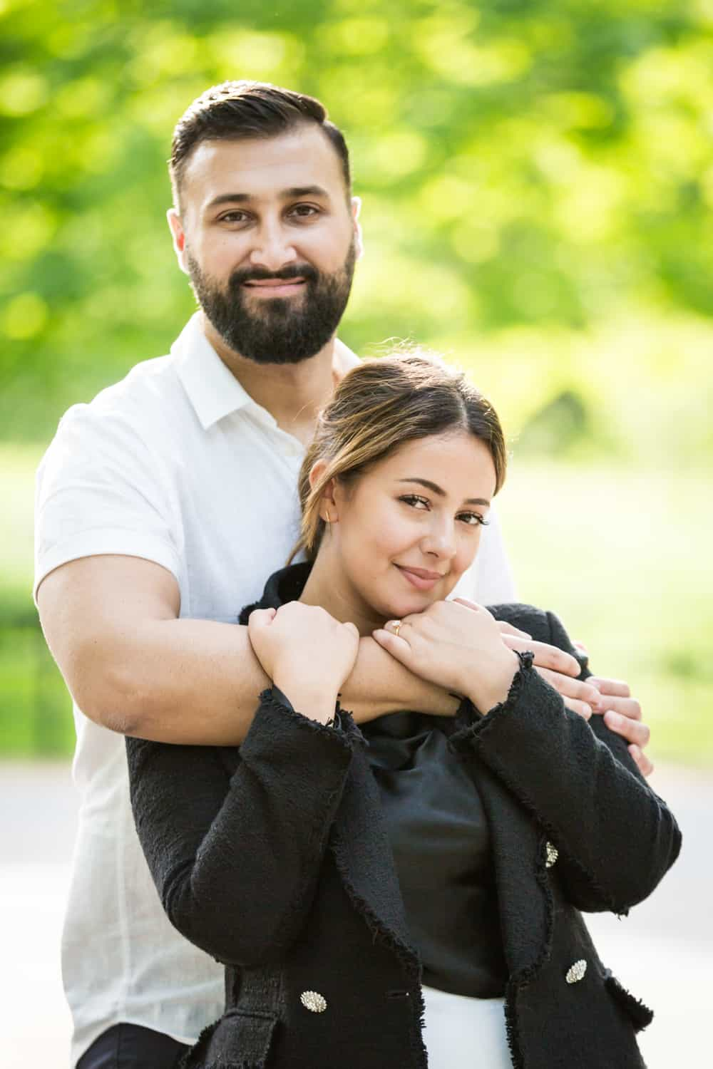 Couple hugging on the Mall in Central Park