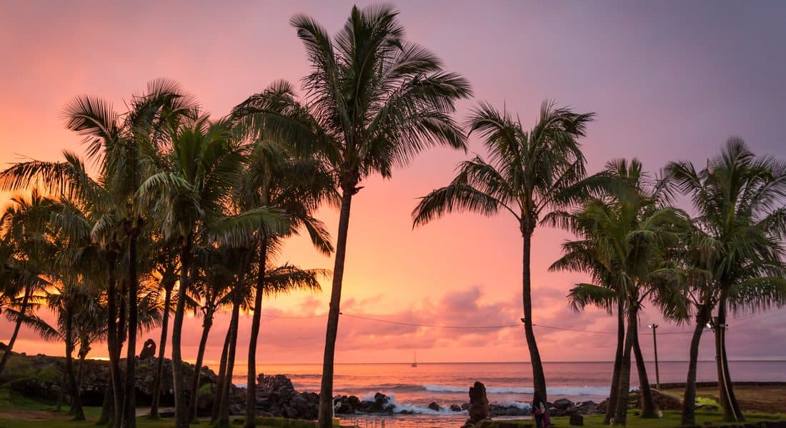 Beach on Easter Island at sunset
