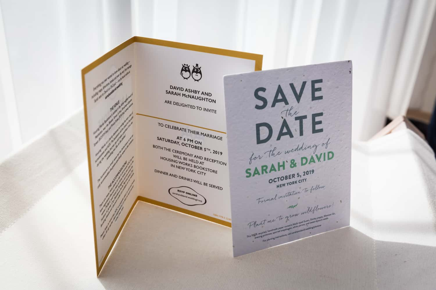 Paper wedding invitation and save the date card