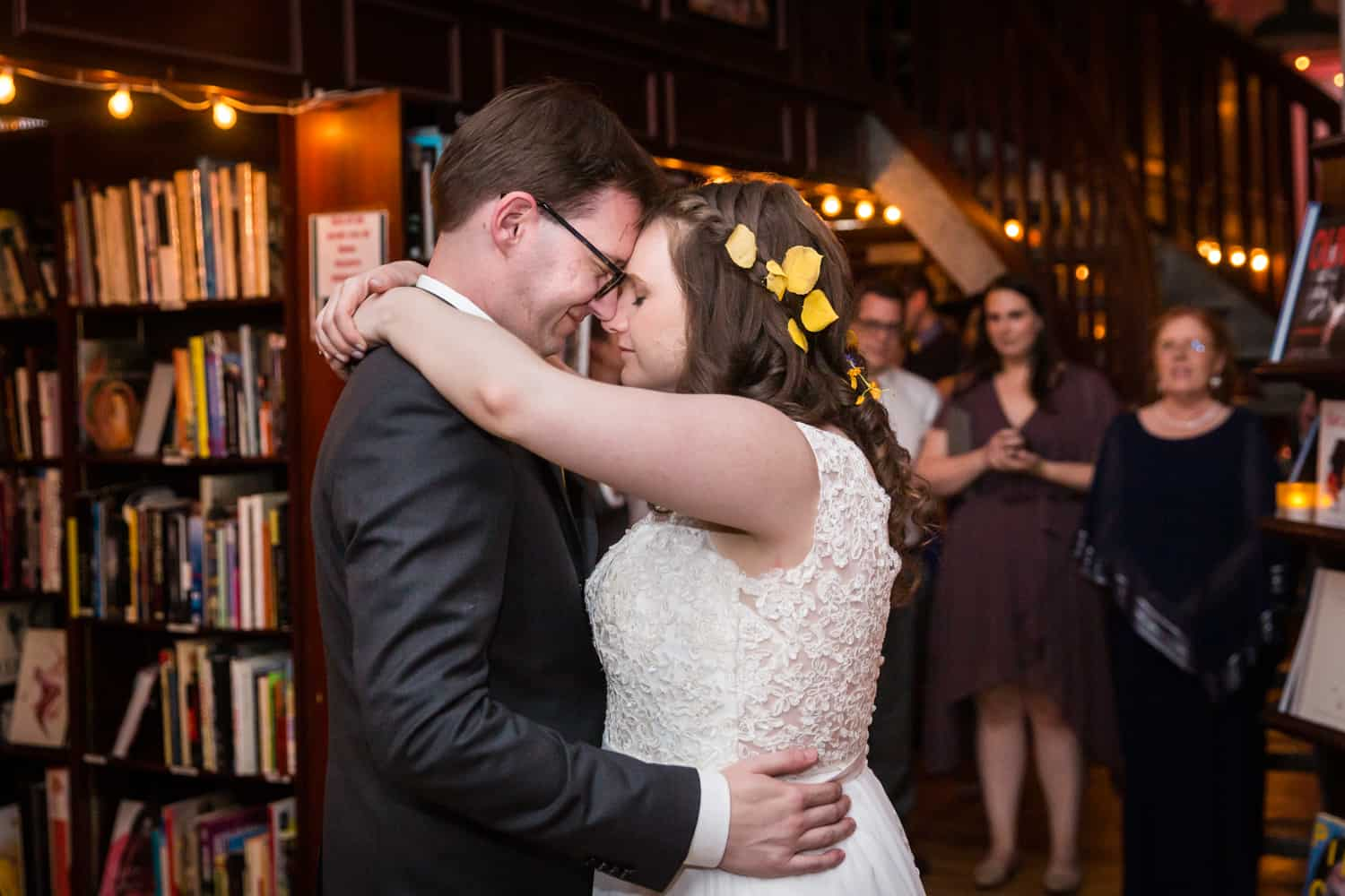 Bride and groom during first dance at a Housing Works Bookstore Cafe wedding