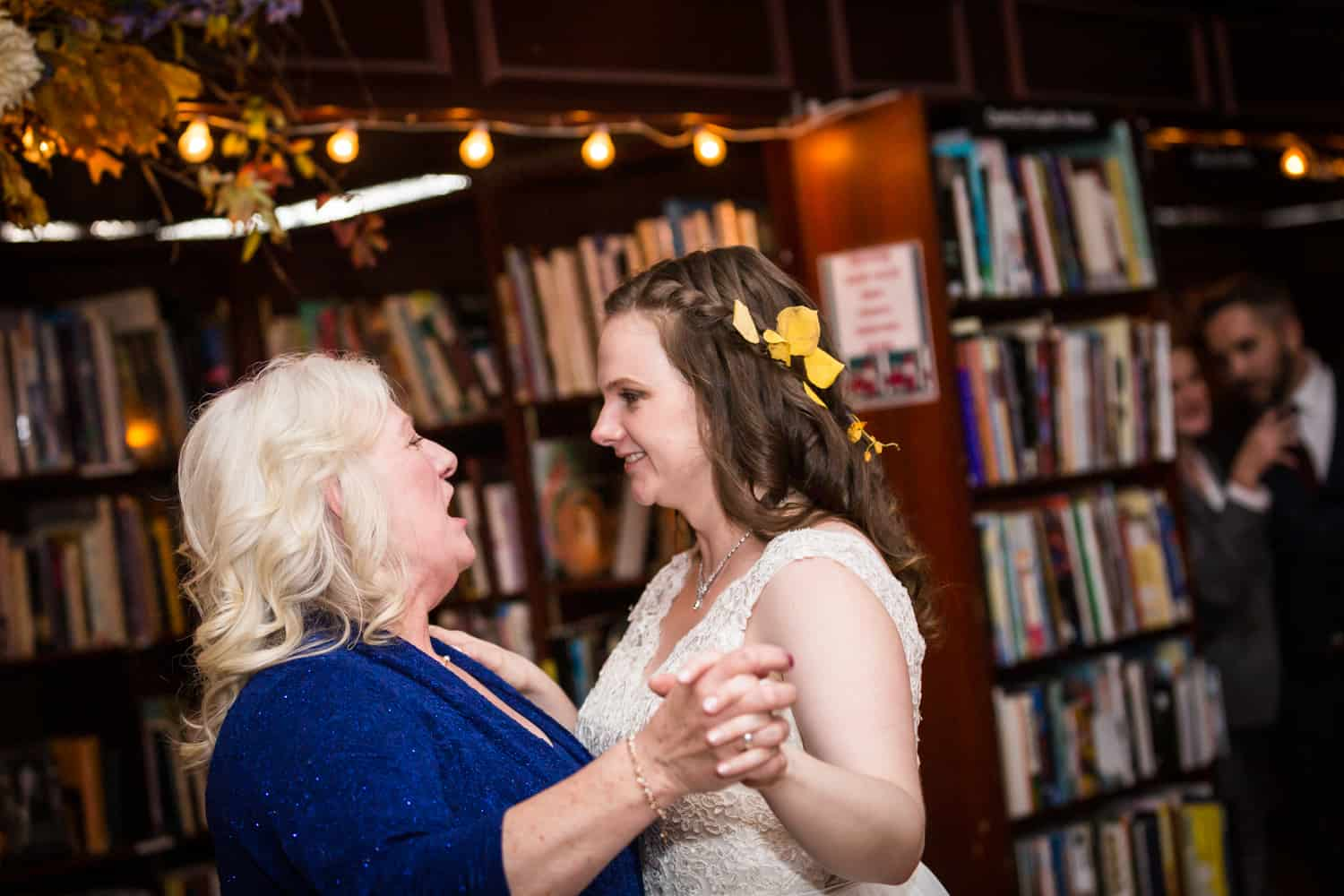 Bride dancing with mother at a Housing Works Bookstore Cafe wedding