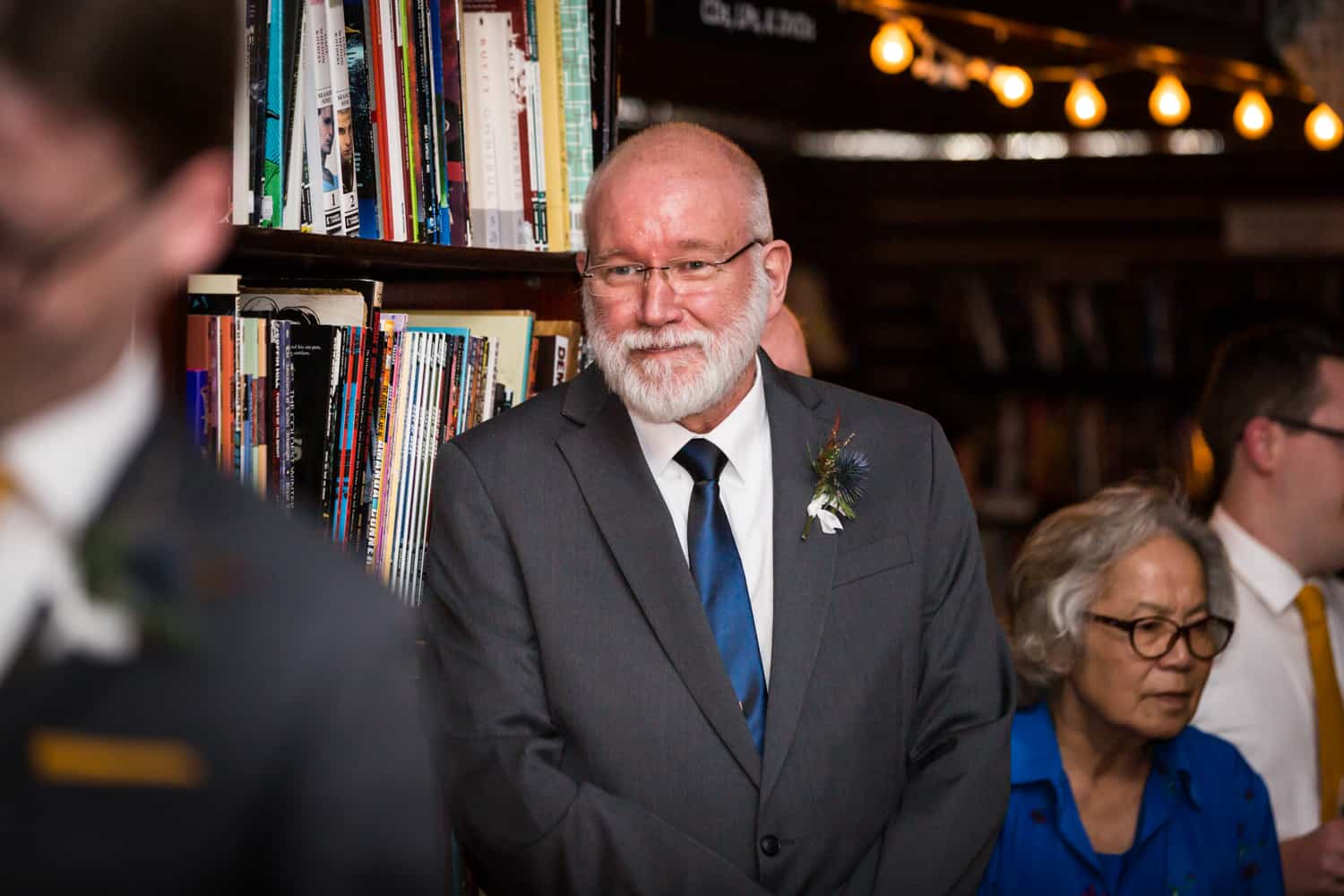 Father watching groom dance with mother at a Housing Works Bookstore Cafe wedding