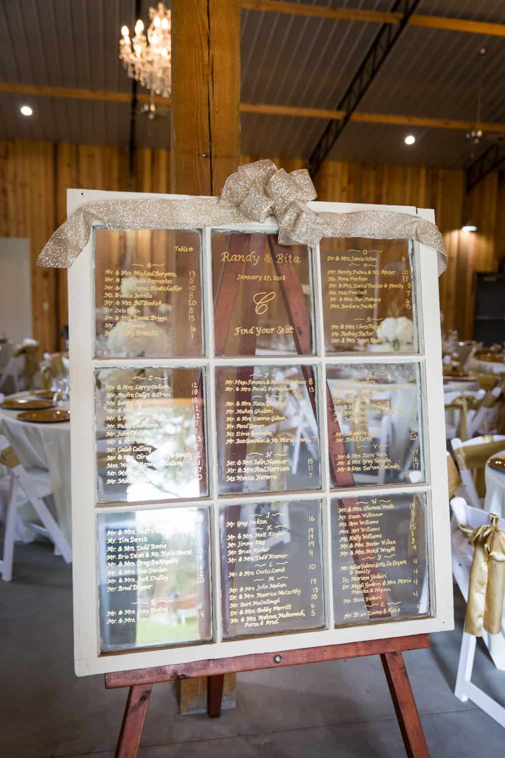 Window written with wedding seating chart
