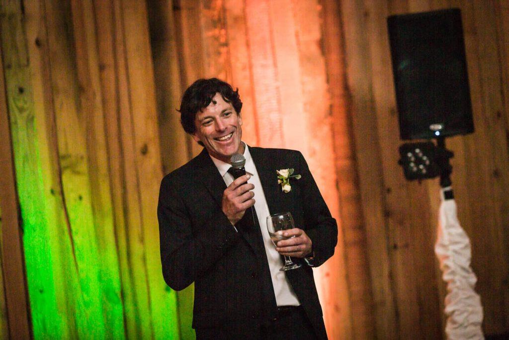 Best man making speech during Florida wedding reception