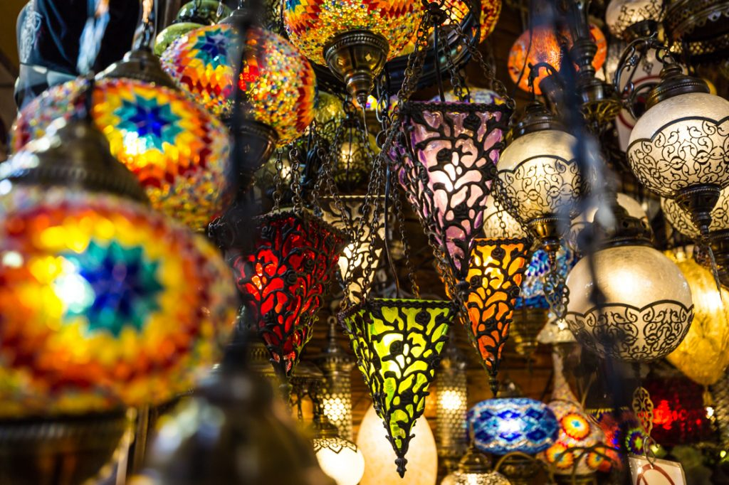 Colorful lanterns hanging in a bazaar in Istanbul, Turkey