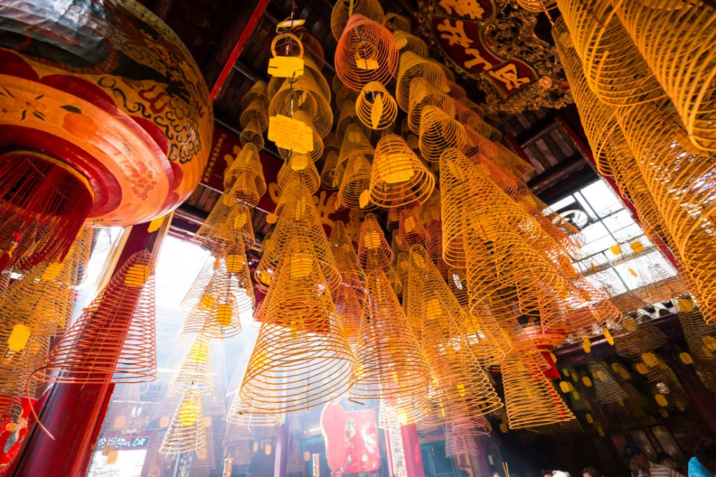 Hanging incense in a temple in Vietnam