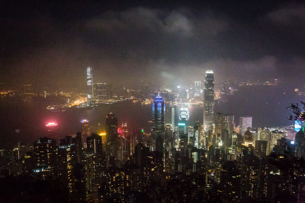 The skyscrapers of Hong Kong at night