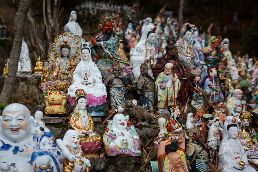 Thousands of discarded religious statues at the Waterfall Bay Park in Hong Kong