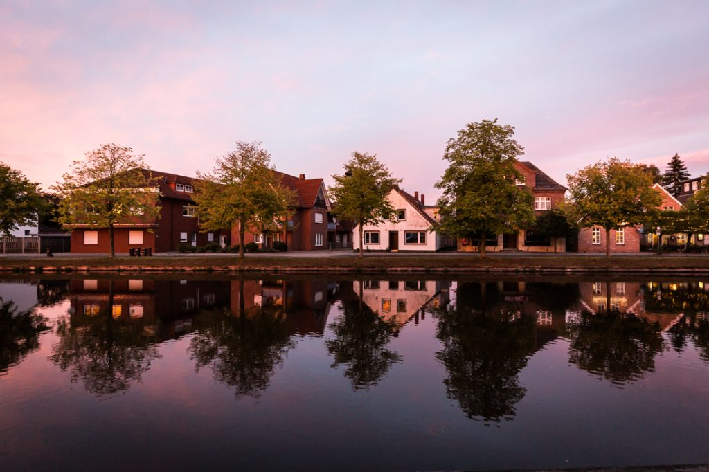 Row of waterfront houses in Papenburg, Germany