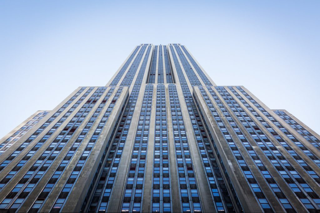 View from ground looking up of Empire State Building