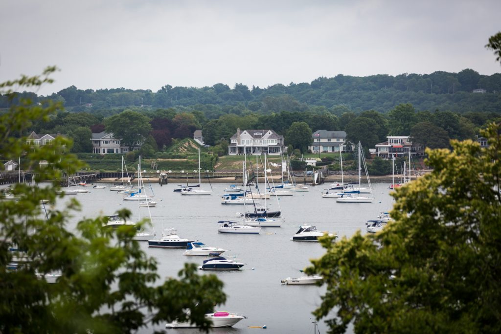 View of boats in water at Northport Bay on Long Island