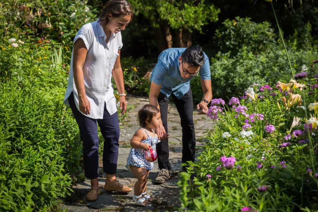 Parents pointing out flower to little girl in Shakespeare Garden