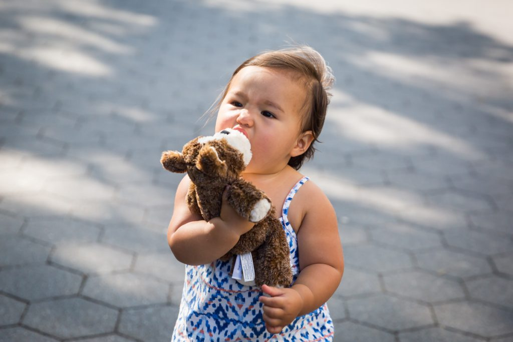 Baby girl eating stuffed animal