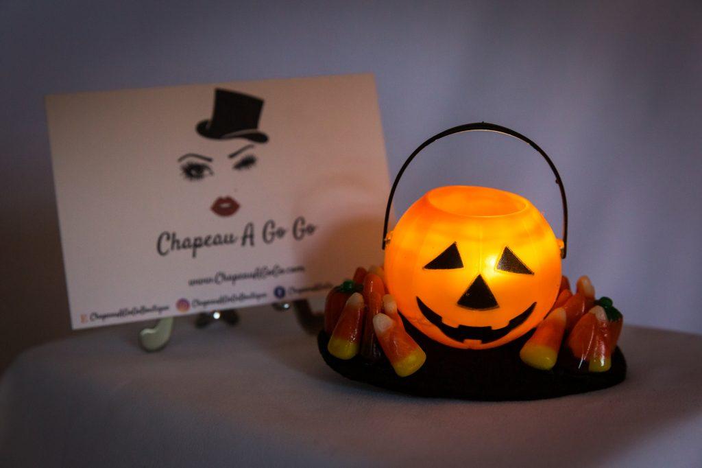 Pumpkin fascinator that lights up by Chapeau A Go Go