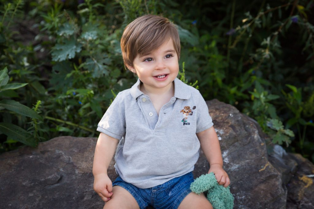 Little boy sitting on rock during a Chelsea Waterside Park family portrait session