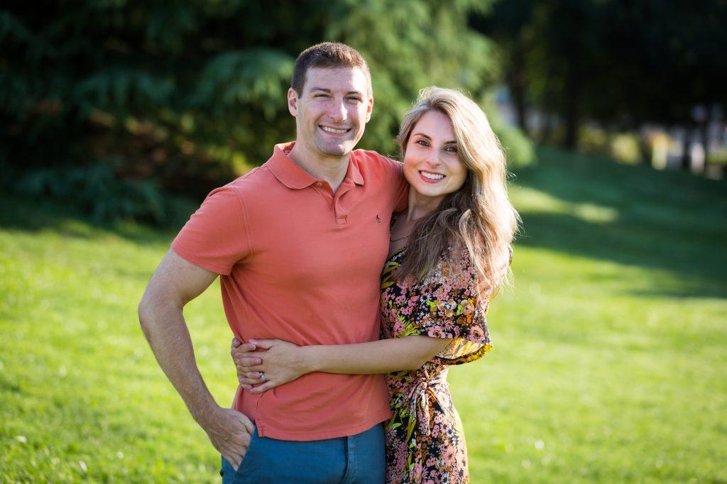 Couple hugging in Hudson River Park
