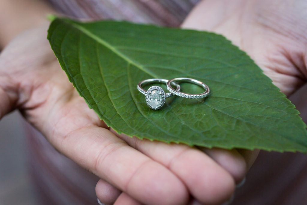 Close up on woman's hands holding leaf with engagement and wedding rings