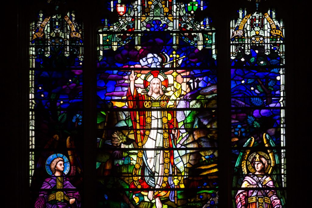 Stained glass window at historic chapel of Green-Wood Cemetery
