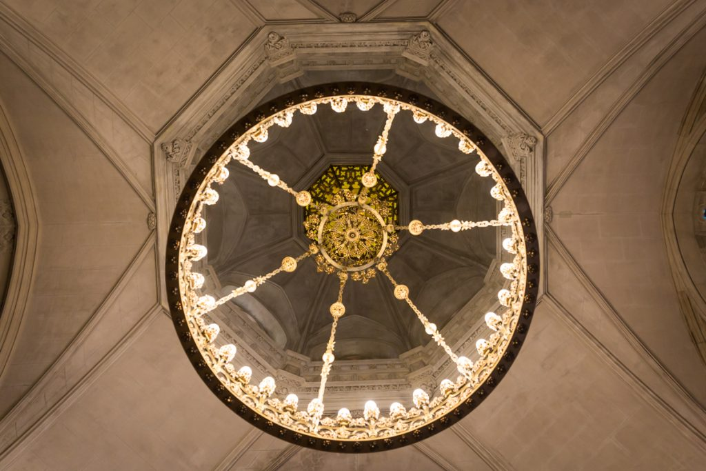 Chandelier in the historic chapel at Green-Wood Cemetery
