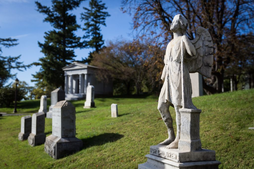 Graves and statues for an article on visiting Green-Wood Cemetery