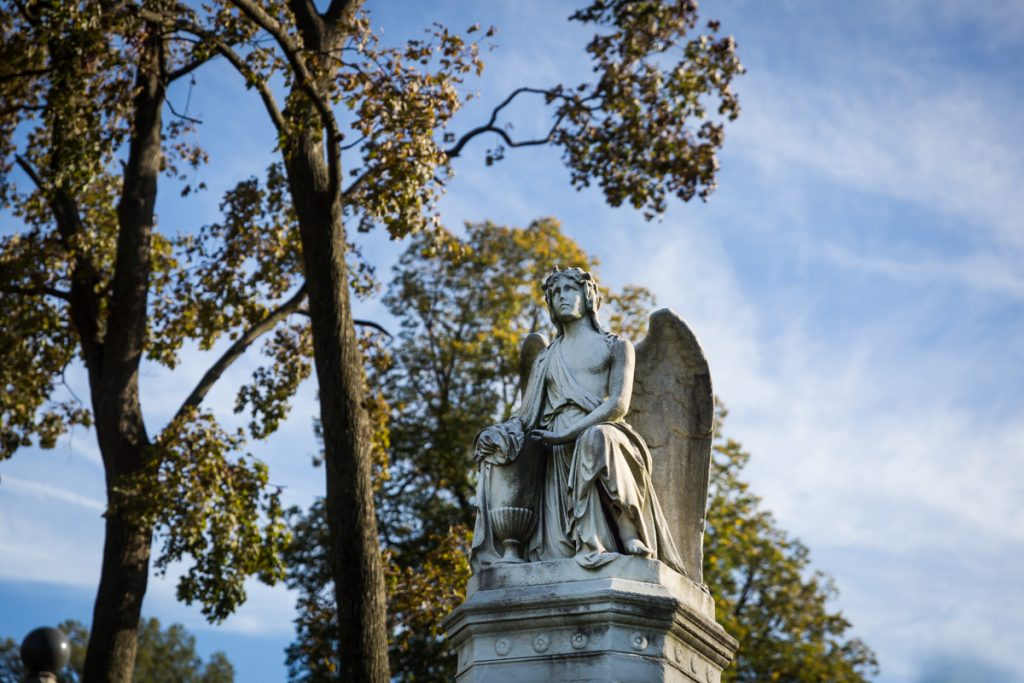 Angel statue for an article on visiting Green-Wood Cemetery