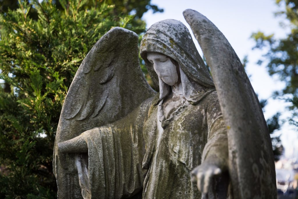 Angel statue at Green-Wood Cemetery