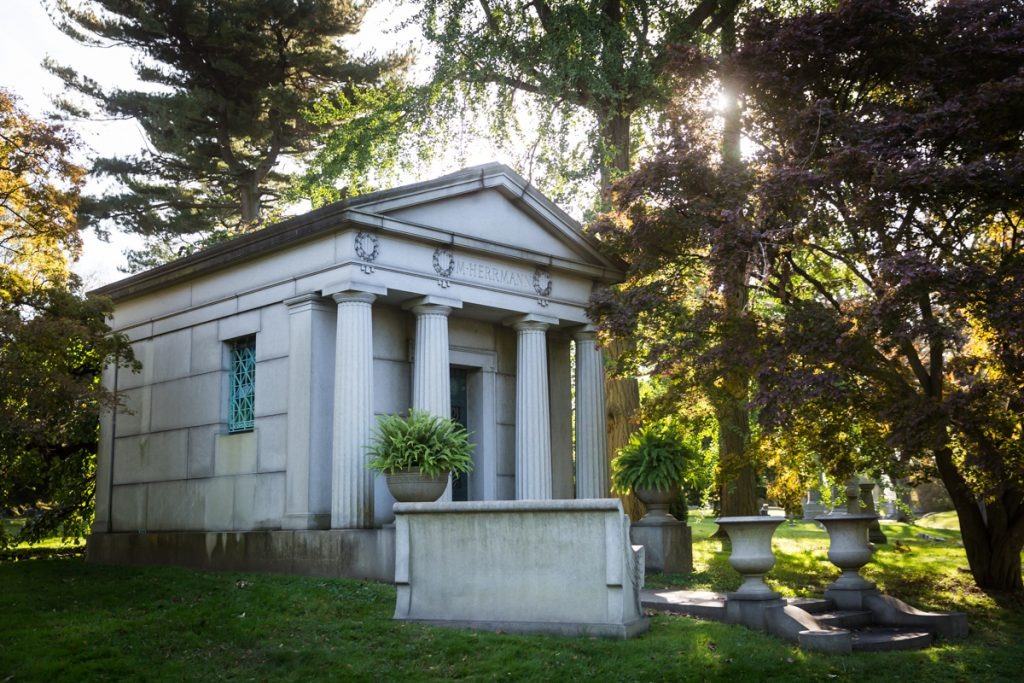 Mausoleum with columns at Green-Wood Cemetery
