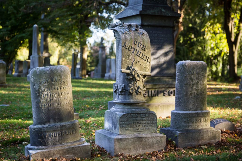 Three graves for an article on visiting Green-Wood Cemetery